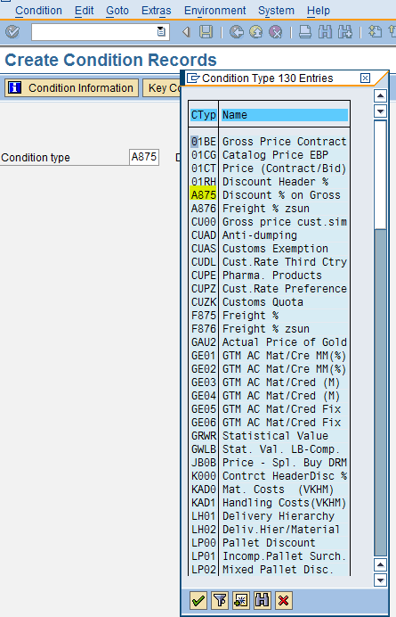 Initial Screen of MEK1 Transaction to Select Condition Type