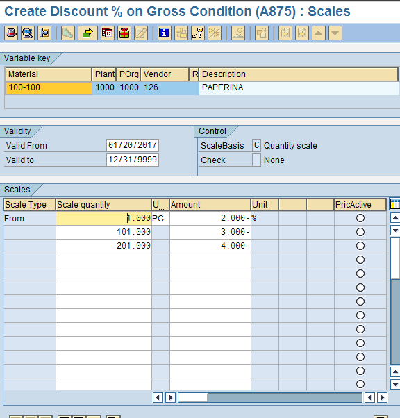 Scales Screen of SAP MM Pricing Condition