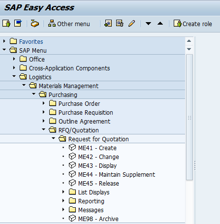 Create SAP Request for Quotation Transaction in SAP Menu