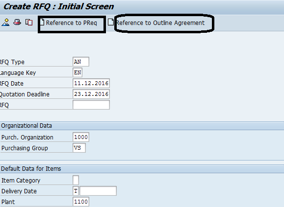 Create SAP Request for Quotation – Initial Screen