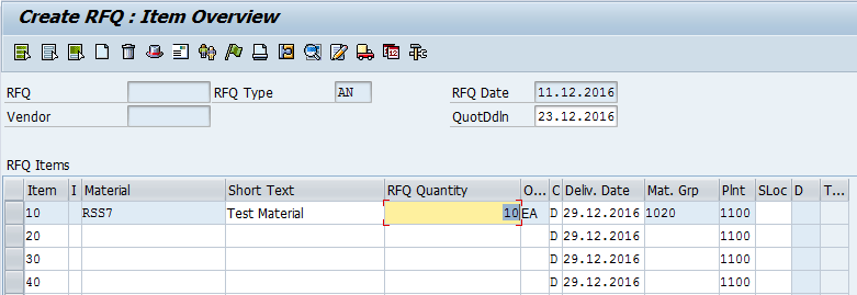 Create SAP Request for Quotation – List of RFQ Items