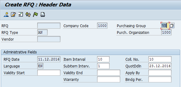 Create SAP Request for Quotation - Header - Enter Coll. No.