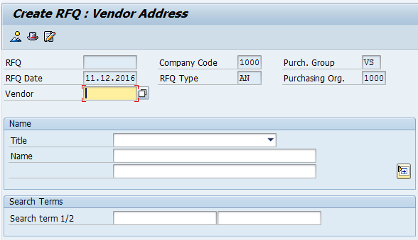 Create SAP Request for Quotation - Enter Vendor