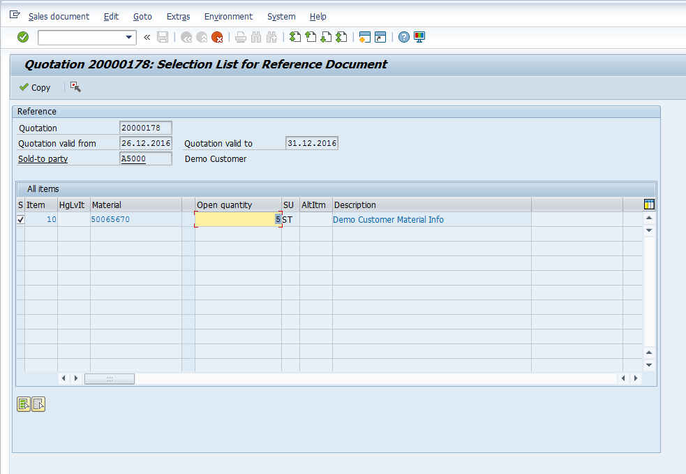 Creating Sales Order with a Reference to Quotation - VA01 - Change Quantity to 5