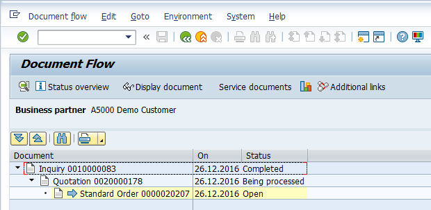 Sales Order > Viewing SAP Document Flow