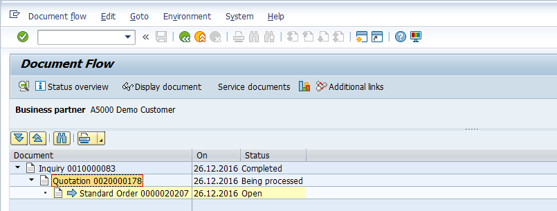 SAP Sales Document Flow > Display Document