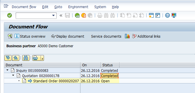 SAP Sales Document Flow > Quotation