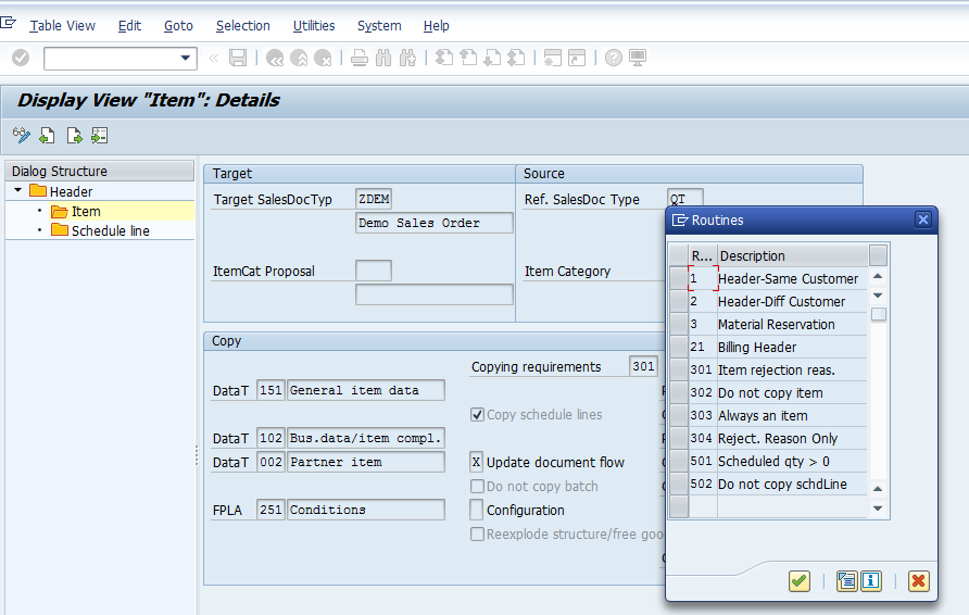 Standard Routines for SAP SD Copy Control at Item Level