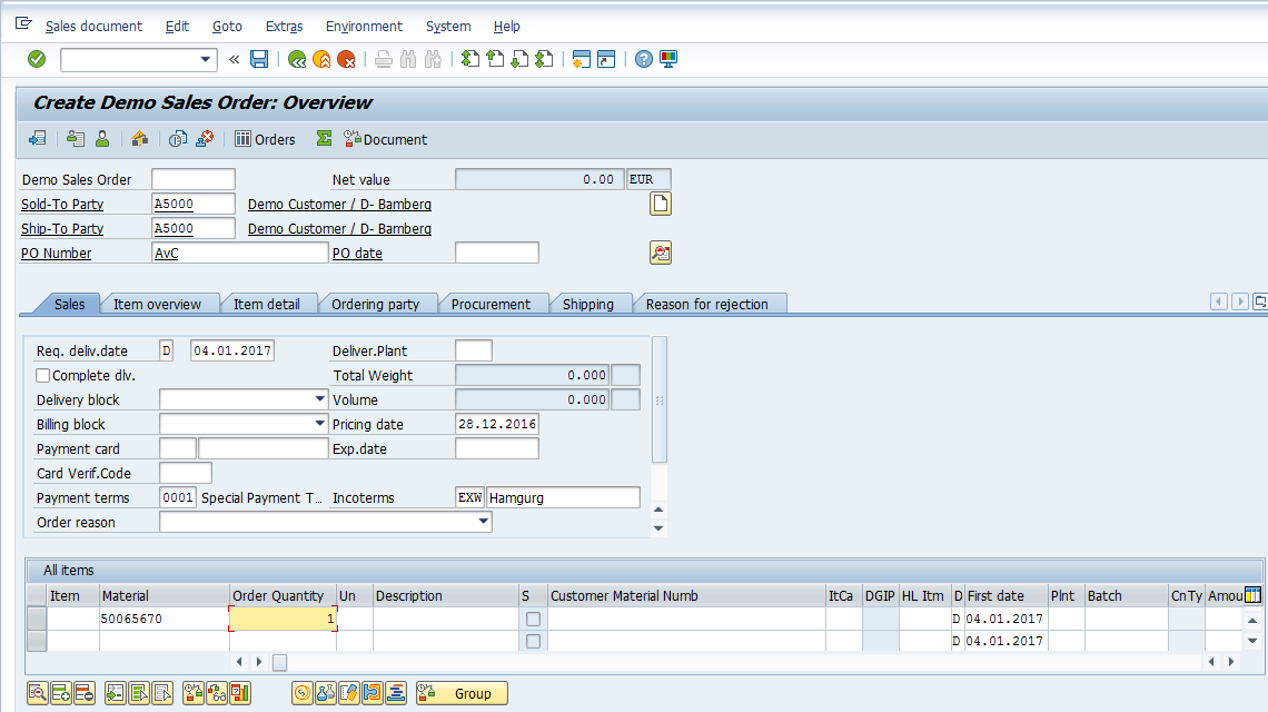 SAP SD Availability Check – Creating Sales Order – Enter Details