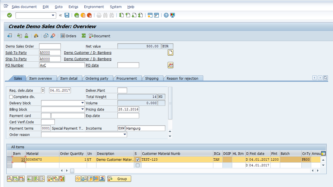 SAP SD Availability Check – Creating Sales Order – Select Line Item