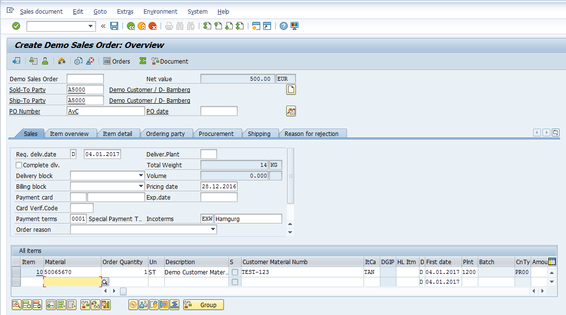 SAP SD Availability Check – Creating Sales Order