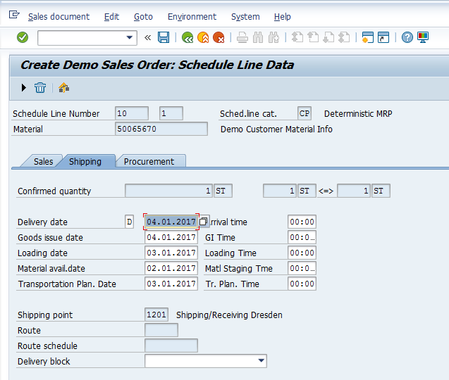 SAP SD Availability Check – Creating Sales Order – Schedule Lines – Shipping Details