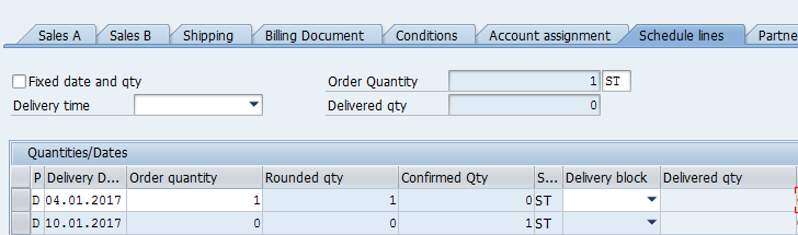 SAP SD Availability Check – Creating Sales Order – Schedule Lines