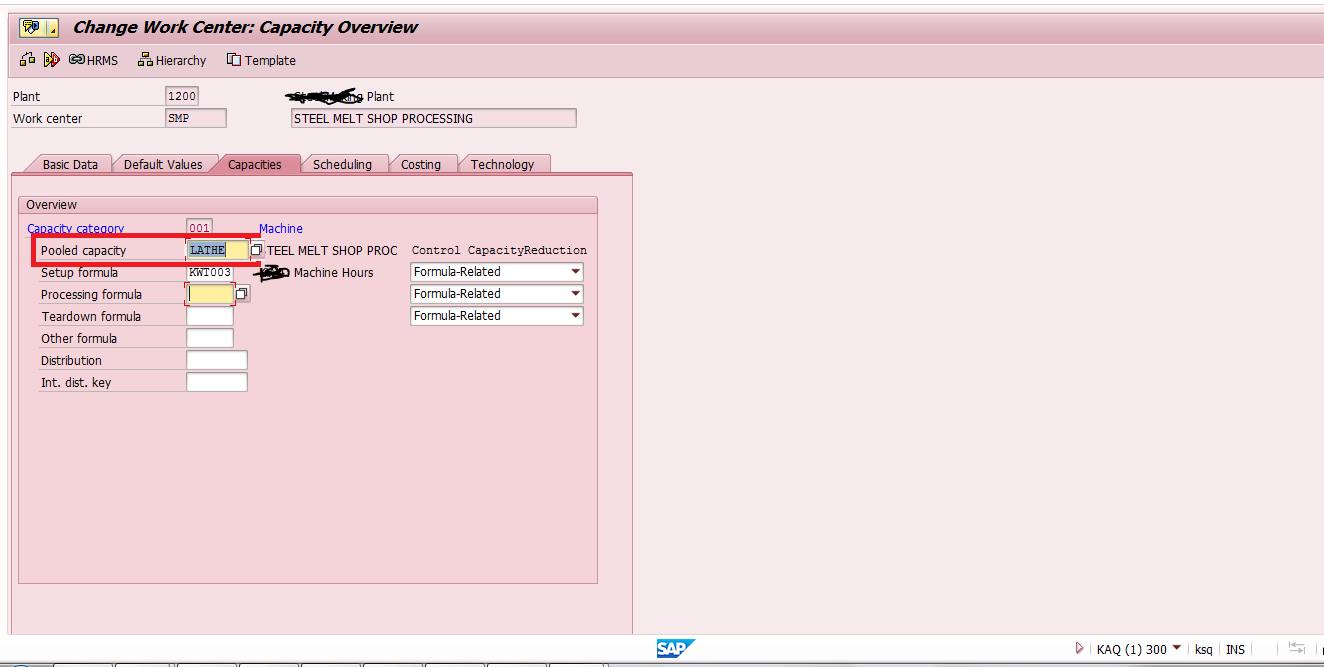 Capacities Tab in SAP Work Center Master Data