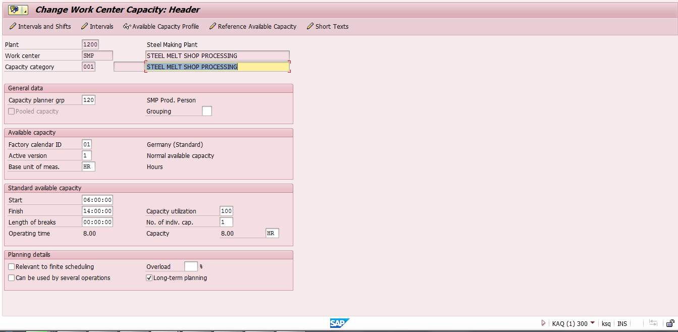 SAP Work Center Capacity Header (Transaction CR11)