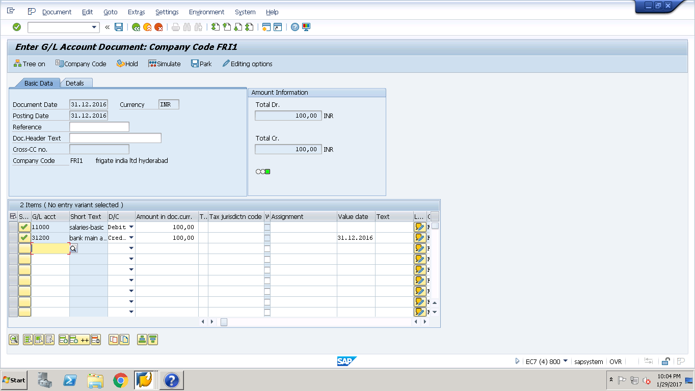 SAP FB50 Transaction for a Sample Posting