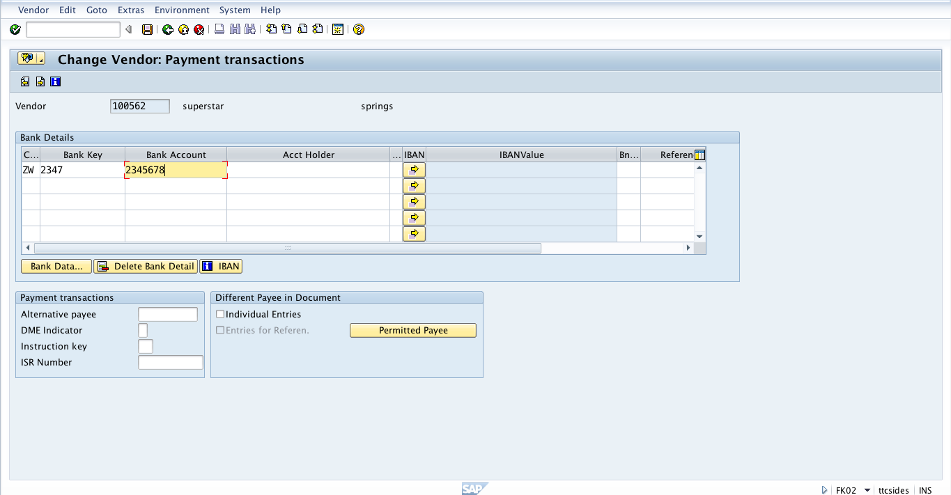 SAP Bank Account Details in Vendor Master Record