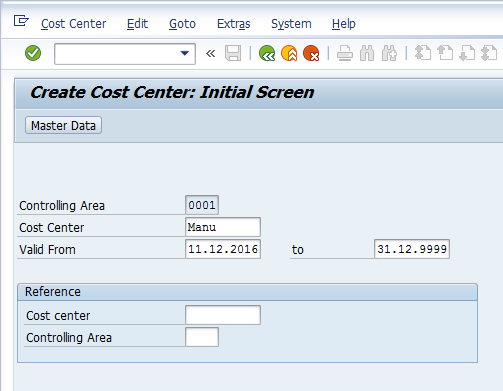 Create SAP Cost Center Master Data – Initial Screen