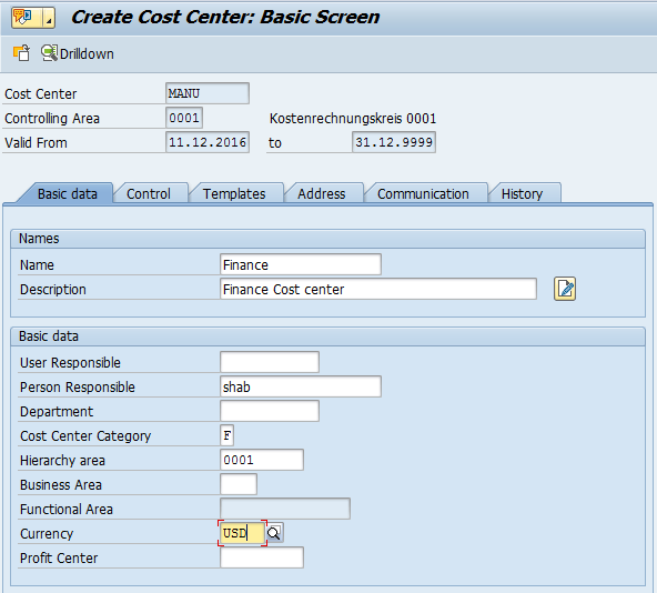 Create SAP Cost Center Master Data – Basic Data Tab