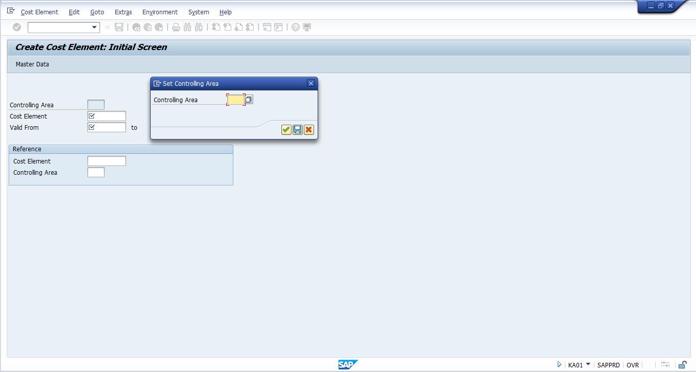Create SAP Cost Element – Initial Screen