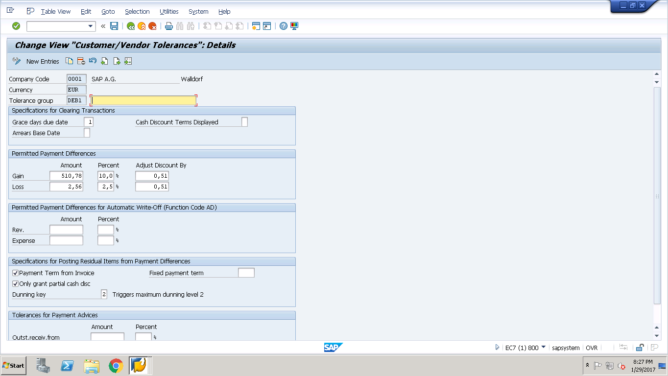SAP FI Tolerance Groups for Customers and Vendors