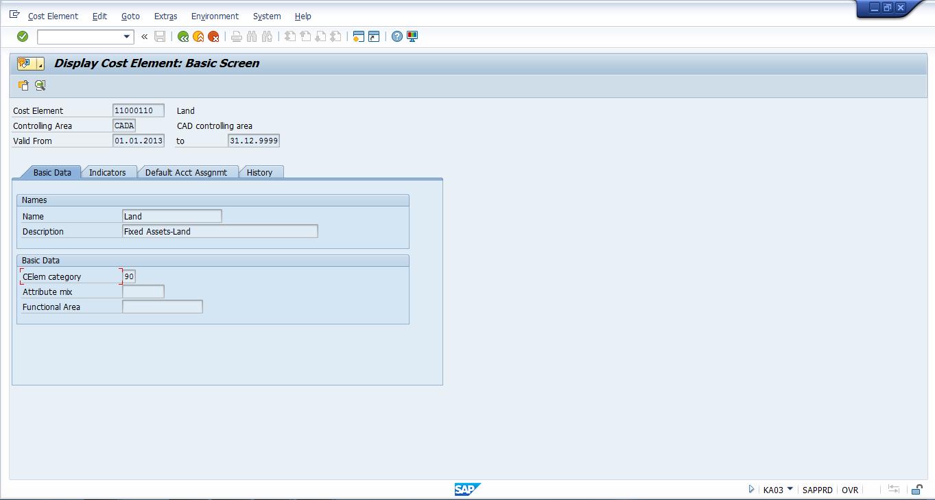 SAP Cost Element – Basic Screen