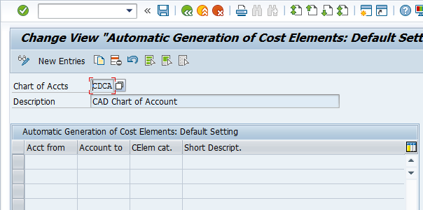 Automatic Generation of Cost Elements Settings
