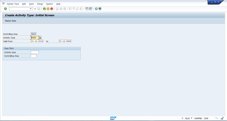 Create SAP Activity Type - Initial Screen