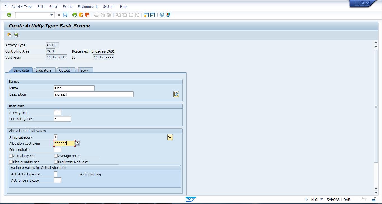 Create SAP Activity Type - Basic Screen