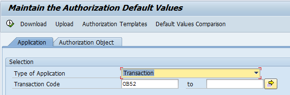 Check Authorization Default Values (Initial Screen)