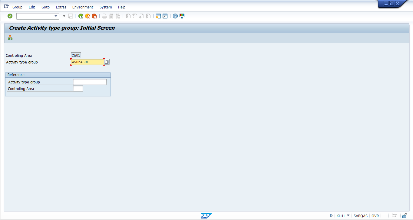 Create SAP Activity Group - Initial Screen