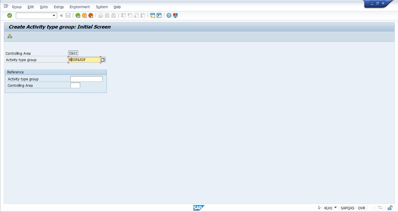 Create SAP Activity Group - Initial Screen