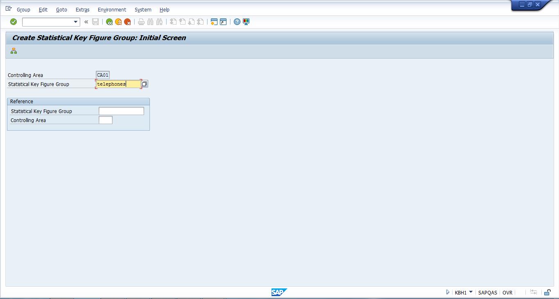 Create Statistical Key Figure Group – Initial Screen