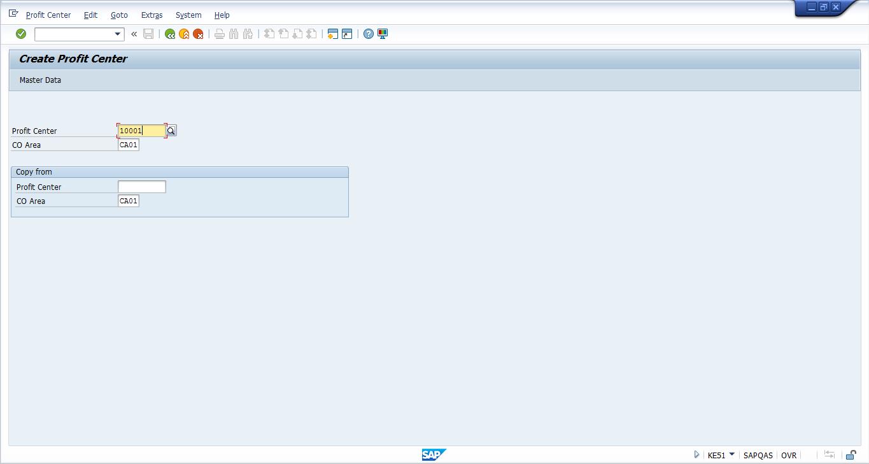 Initial Screen of Create Profit Center Transaction (KE51)
