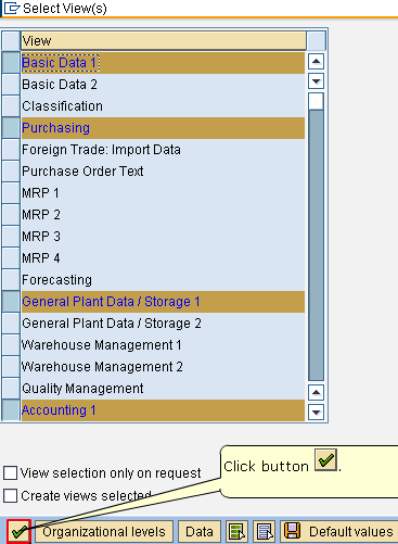 Select Views of SAP Material Master