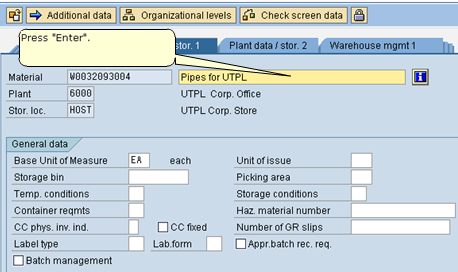 Create a Material - General Plant Data / Storage 1 View