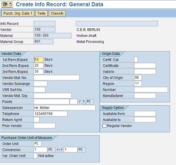The Client Level View of SAP Info Record