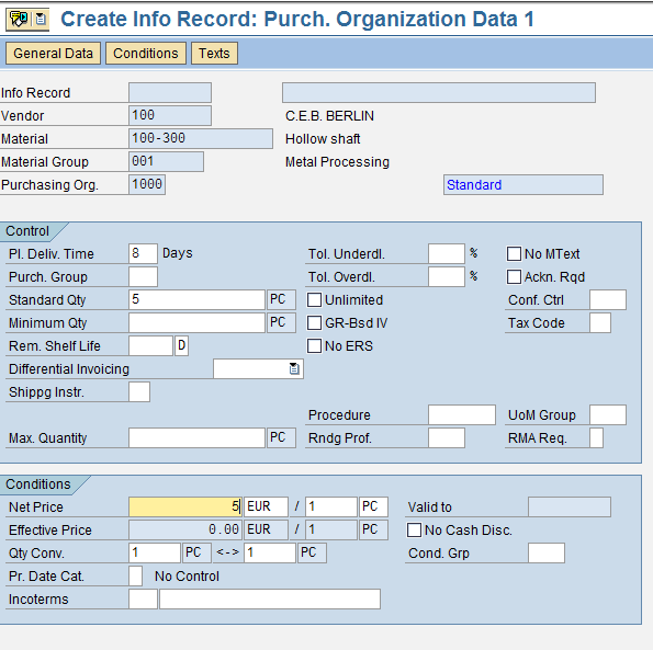 The Purchasing Organization Level View of SAP Info Record