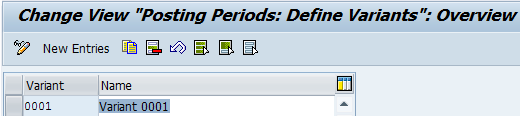 Define SAP FI Posting Periods Variants
