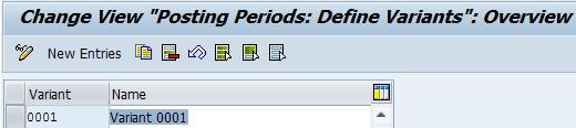 Define SAP FI Posting Periods Variants