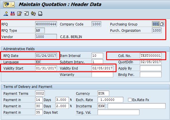 RFQ Header Data