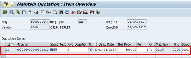 RFQ Item Data