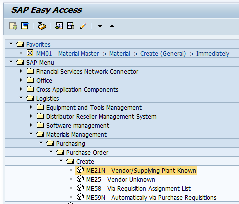 Create SAP Purchase Order Transaction Menu Path