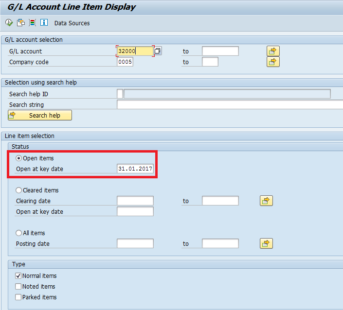 SAP General Ledger Open Items Display