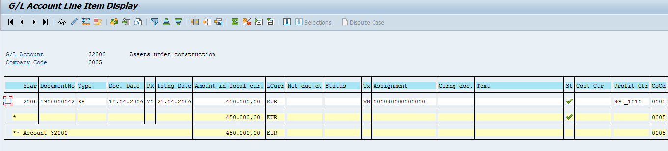 SAP General Ledger Open Items (Example)