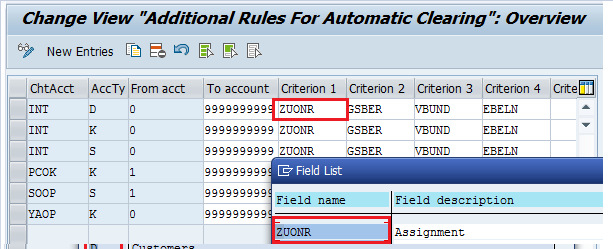 SAP Automatic Clearing Rules – Assignment Field