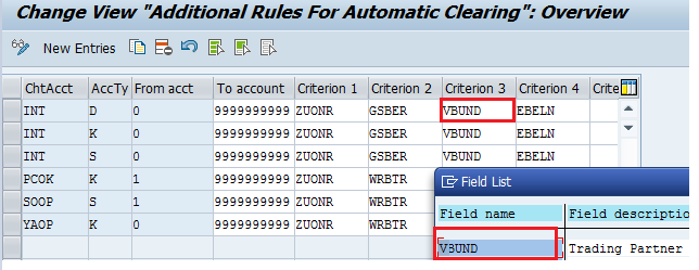 SAP Automatic Clearing Rules – Trading Partner Field