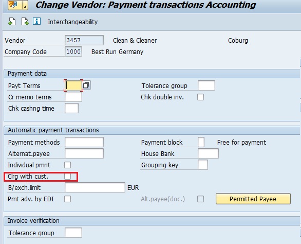 """Clrg with cust."" Checkbox in Vendor Master Record"