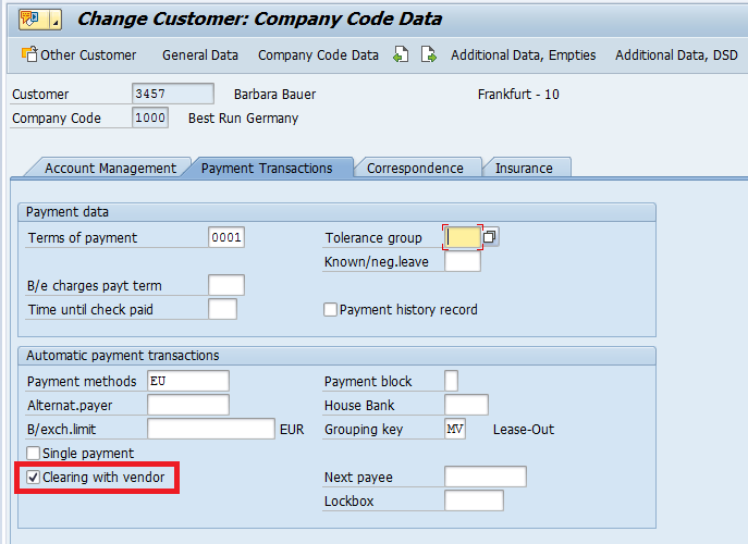 """Clrg with vendor"" Checkbox in Customer Master Record"