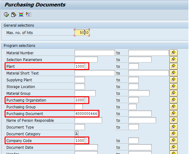 SAP RFQ Search Screen